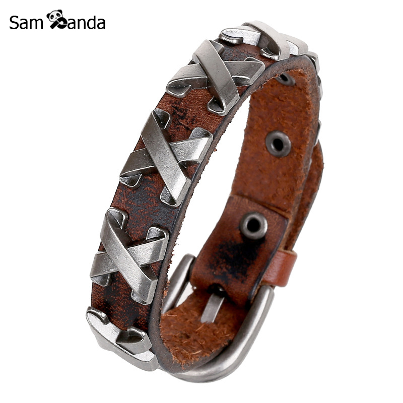 New 100% Genuine X Leather Thick Male Bracelet For Man Metal Cross Rivets Studded Cuff Bangle Single Buckle Belt Pulsera MCC0016
