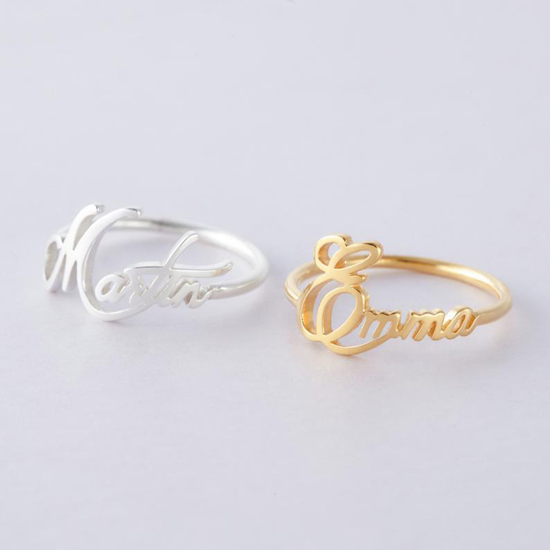 New 925 Sterling Silver Personalized Customizable Child Name Ring Cursive Name Ring For Women Jewelry Romantic Wedding gift in Rings from Jewelry Accessories