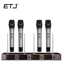 ETJ Marca de Microfone Sem Fio 4 Transmissor Bodypack Handheld Profissional VHF Microfone de Lapela Headset U-410