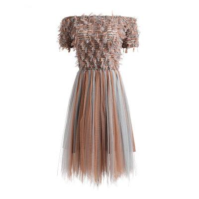 Épaule Dos Tissé D'été Maille De Fiesta Nu Sexy 2018 Robes Gland Femmes Off Courte Partie Robe Élégant 5vwRRqxAt
