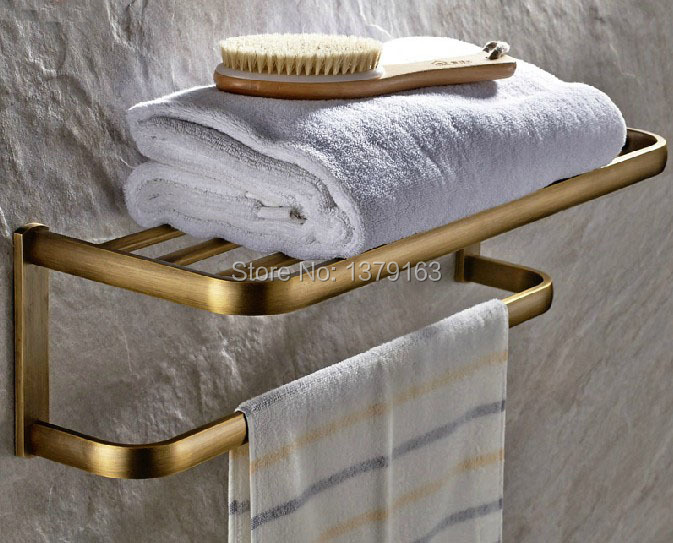 ФОТО Bathroom Fitting Antique Brass Wall Mounted Bathroom Large Towel Holder Towel bar Rack Rail Shelf aba172