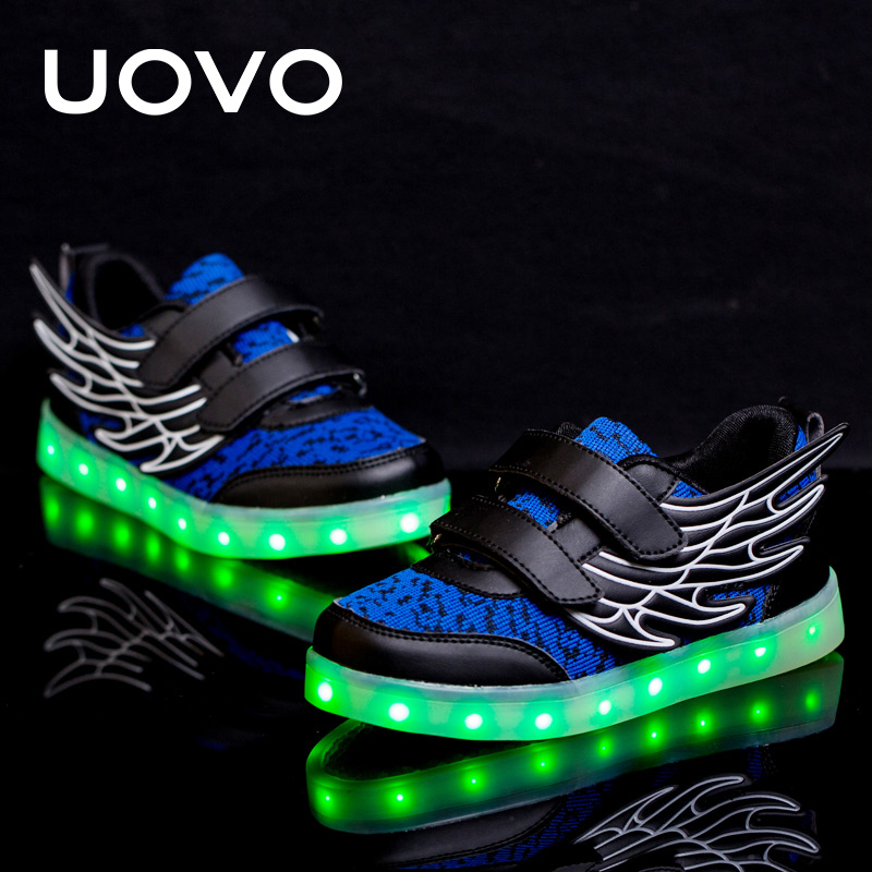 UOVO Kids Luminous Sneakers USB Charge Led Children Shoes Wing Light Up Shoes Spring Glowing Sneakers For Boys And Girls Casual women real genuine leather flat mid calf boots autumn winter half short boot frenal fashion footwear shoes r8285 size 34 39