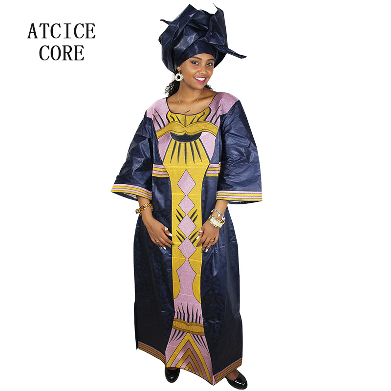 100% Waar Afrikaanse Jurken Voor Vrouw Bazin Riche Borduurwerk Ontwerp Lange Jurk A087