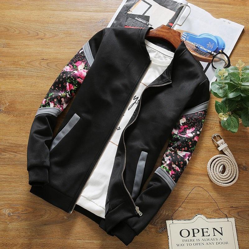 Bomber   Jackets   2019 Spring Causal Flowers Floral Famale   Jacket   Mandarin Collar Women Coats Zipper Patchwork   Basic     Jackets