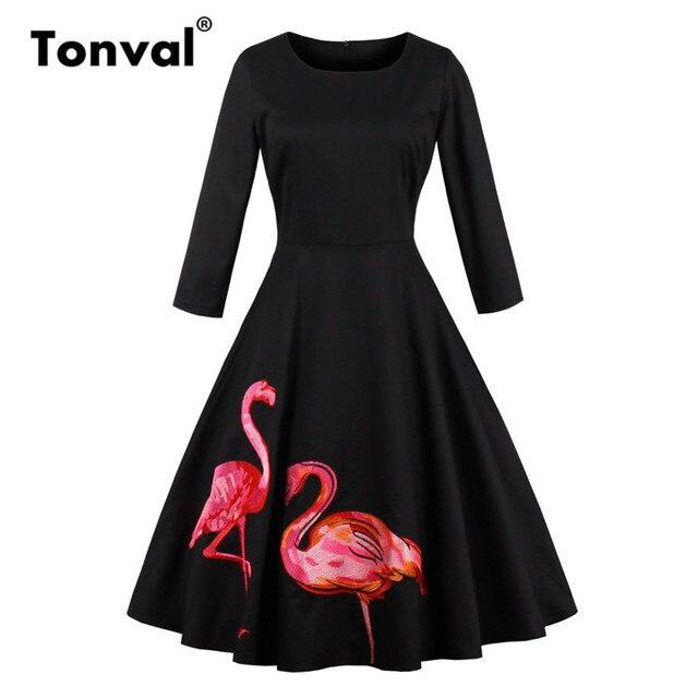 Tonval Flamingo Embroidered Vintage Women Black Dress Retro Clothes 2019 Autumn Dress 95% Cotton Flare Dresses