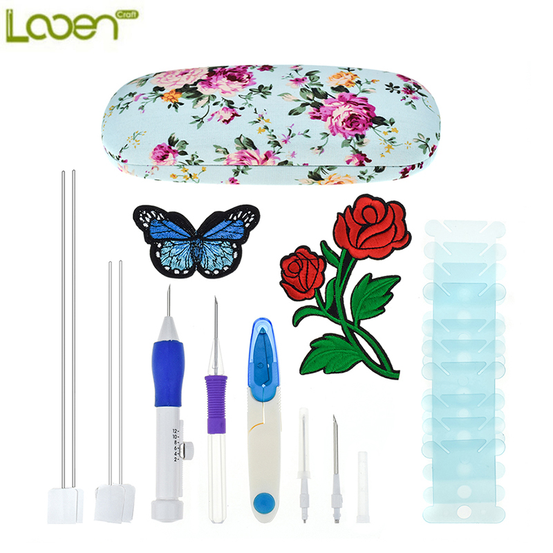 Looen New Magic Embroidery Pen Punch Needles Set Needle Scissors Flower Patterns Kit Knitting Sewing Tools For Women Mom Gift