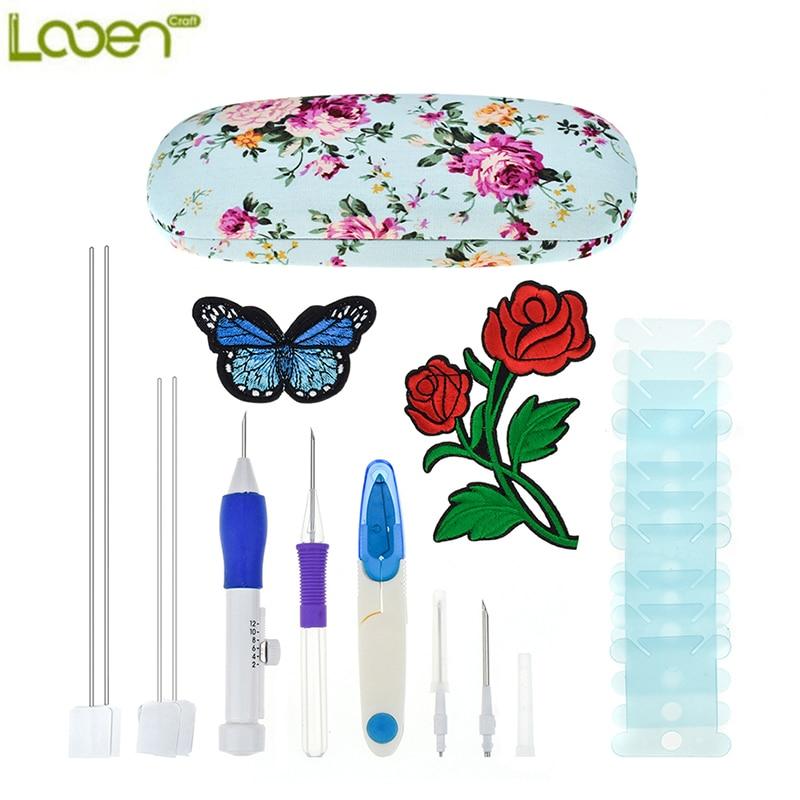 Looen nueva magia pluma del bordado agujas aguja conjunto flor tijeras patrones Kit herramientas de costura para mujeres mamá regalo