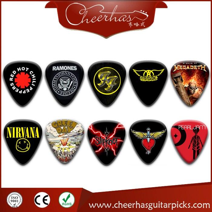 USA popular band logo guitar pick with mixed 10 different, NIRVANA, REDD, RAMONES, SLIPKNOT GREEN сумка ramones chest logo