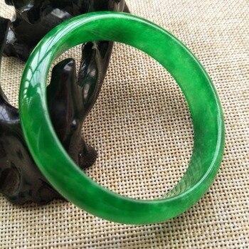 58-60MM Certified Natural Lavender Green Jadeite Jade Bangle Bracelet Handmade