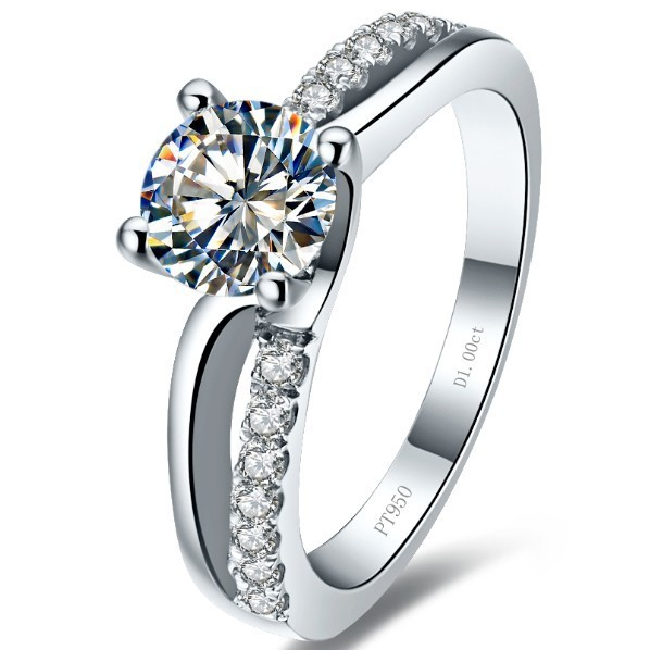 Romantic Jewelry 1Ct Round Cut Lab Created Synthetic Diamonds Engagement Rings 925 Sterling Silver Luxury Color