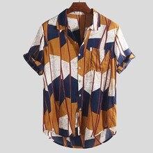 Новая модная Высококачественная Летняя мужская разноцветная Свободная рубашка с нагрудным карманом с коротким рукавом и круглым подолом