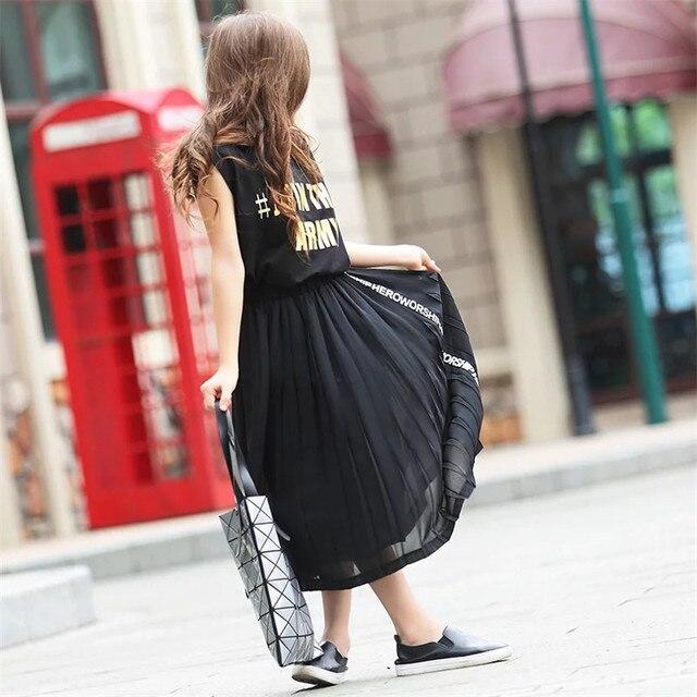 Maxi Long Skirt Girl Clothes Children Kids Girl Clothing 2016 Black Pleated Teenage Little Girls Skirt Spring Summer 7-16 years