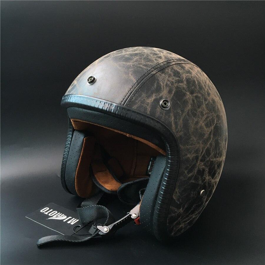 2017 Unique Design Vintage harley style Motorcycle Helmet 3/4 Open Face Casco Cruiser Chopper helmet leather DOT Capacete