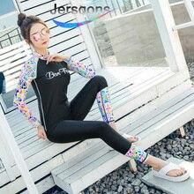 Jersqons One Piece Women Rash Guard 2019 Print Swimwear Long Sleeves Rashguards Swimsuit Bodysuits Surfing Wetsuits