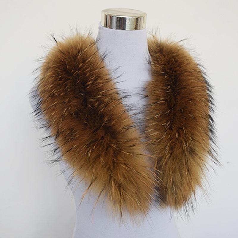 2017 invierno bufanda mujer moda adulta sólido caliente! 80cm grande verdadero 100% cuello de piel de mapache abrigo genuino genuino chal genial Qs-103