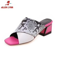 ALLENLYNN New Hot Sale Colored High Heels Slippers Women 2019 Summer Large Size 34-43 Fashion Mules Casual Shoes Woman
