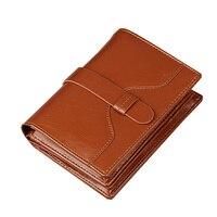 Vintage Genuine Cowhide Oil Wax Leather Women Short Wallets Purse Brand Wallet Women Card Holder Small