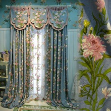 Custom Made Pastoral Style Curtain for Living Room Tulle Window Curtains Turkey Flowers Print Eco Friendly Curtains Free Ship