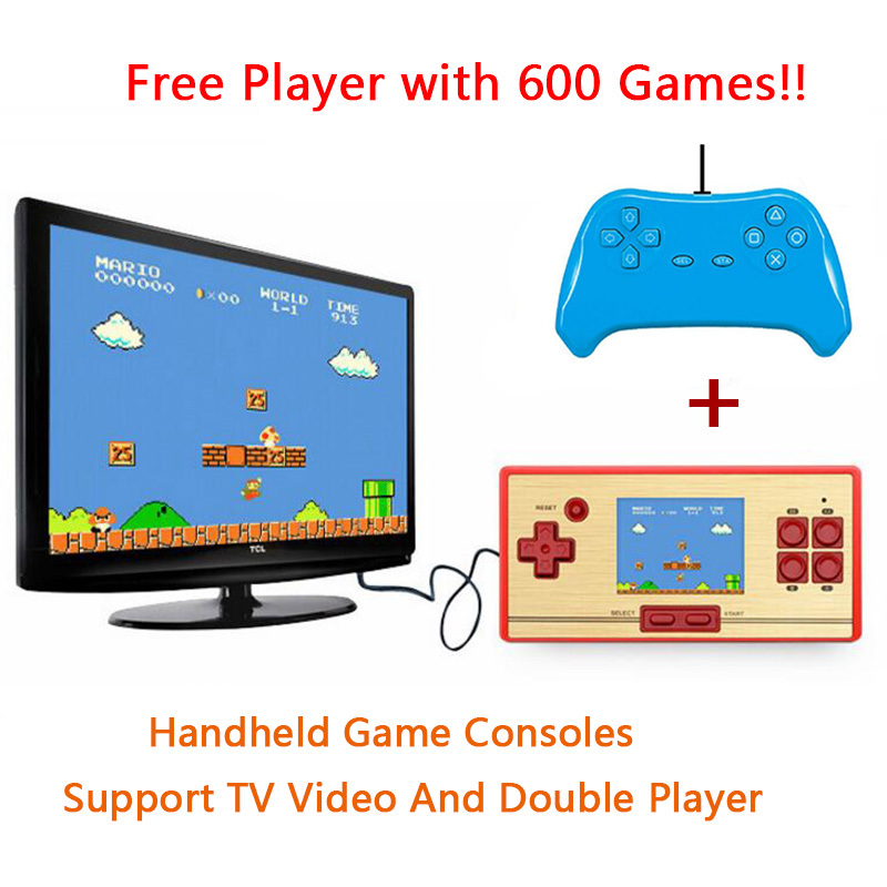 FCPOCKET Classic 8 bit Handheld Game Console Build 472 games Free 128 in 1 game cartridge 2nd Player Controller Gamepad