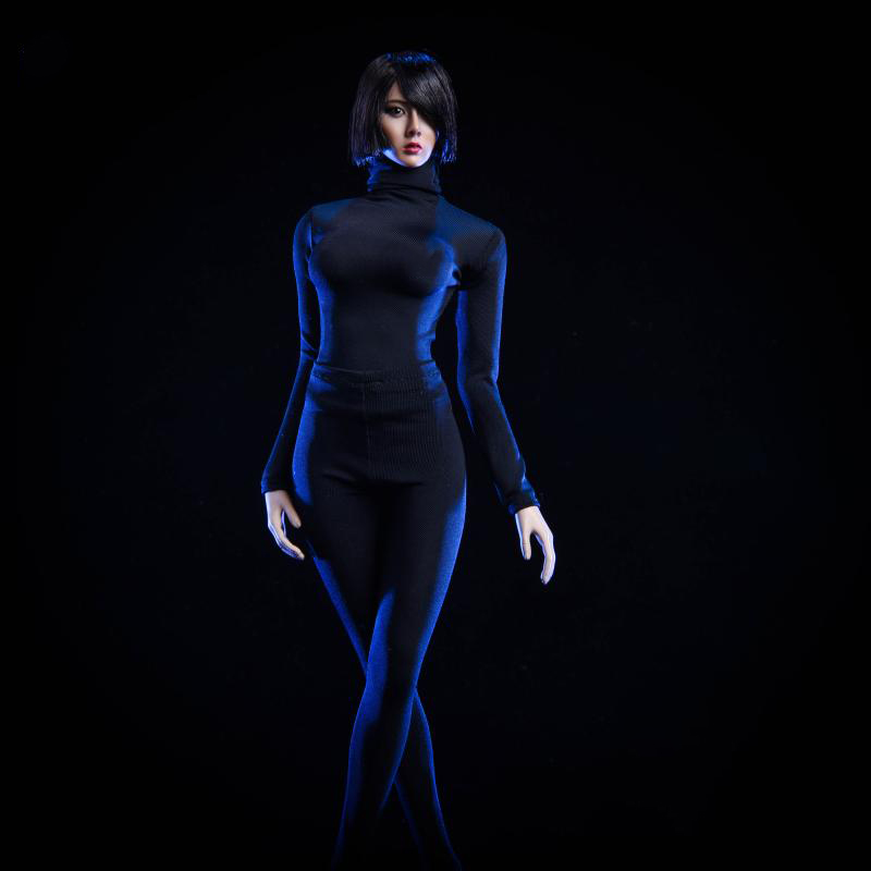 <font><b>1/6</b></font> <font><b>Scale</b></font> <font><b>Female</b></font> <font><b>Clothes</b></font> Set Tight Pants and Coat High Collar Black and White for 12''Action Figure Accessories Model image