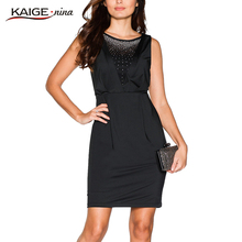 KaigeNina New Fashion Hot Sale elegant Women pure Colors Dresses with zipper sleevlesses sexy evening party dress 9087