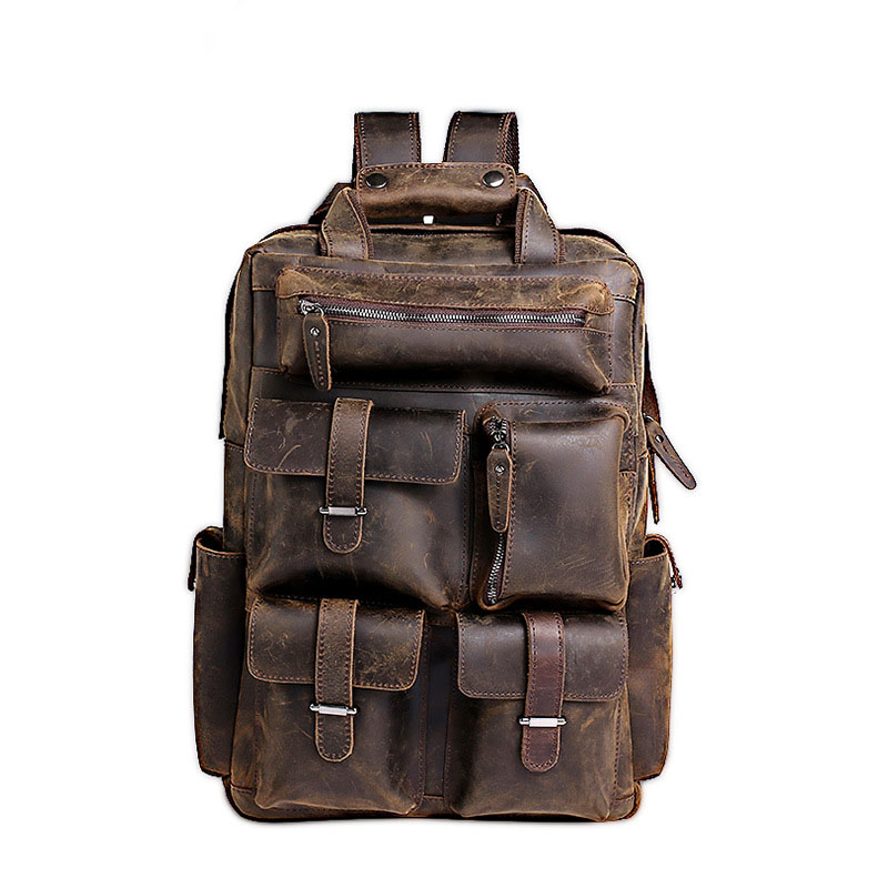 Men Backpack Genuine Leather Laptop Backpack Vintage Large School Travel Backpacks For Teenagers Multifunction Bag Mochila multifunction genuine leather men backpack bag vintage crazy horse cow leather large capacity travel rucksack anti thief mochila