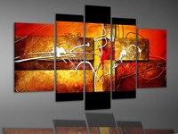 100% ручная работа, цвет высокая абстрактная стена Декор Пейзаж маслом на холсте 5 шт./компл. mixorde подставил