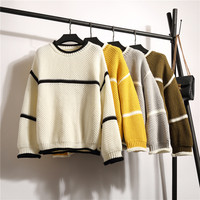 2017 New Autumn Winter Women Sweater Korean College Style Fashion Patchwork Loose Knitted Pullover Sweater Casual