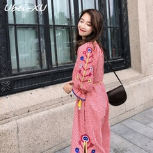 Ubei Spring 2019 new vintage plaid long dress cotton linen embroidery loose lace women