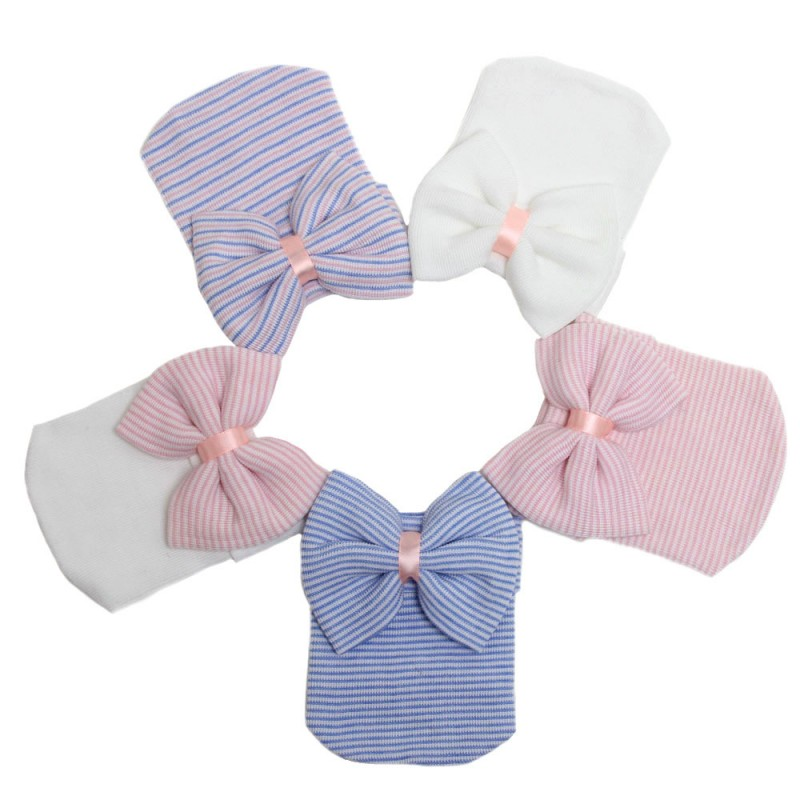 e0d5254d1eb 1 PC Hospital Newborn Hat Lovely Baby Girl Cotton Beanie With Bow Infant  Soft Knit Striped Caps Baby Toddler Hat Accessories