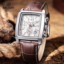 megir fashion casual military chronograph quartz watch men luxury waterproof analog leather wrist watch man free