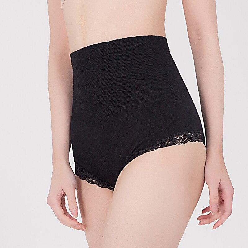 Feilibin Celana Pinggang Tinggi wanita Kecantikan Kontrol Celana Tubuh Pelangsing Shapewear Seksi Celana Renda Katun Wanita Pakaian