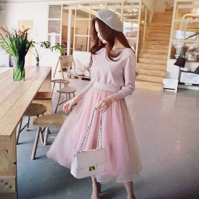 Dabuwawa Spring Autumn Pink Two-piece Dresses Set New Fashion Mesh Solid Slash Neck Knit Sweet Ruffles A-Line Dress D18CSA015
