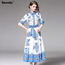Banulin Women Dresses 2019 High Quality New Runway Dress Turn-Down Collar Long Sleeve Floral Printed Sashes Mid-calf Shirt