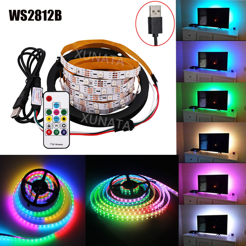 <font><b>USB</b></font> LED Strip RGB WS2812B <font><b>DC5V</b></font> 1m/2m/3m/4m/5m WS2811 IC built-in SMD 5050 Addressable Led TV Back Light+ <font><b>USB</b></font> Remote Controller image