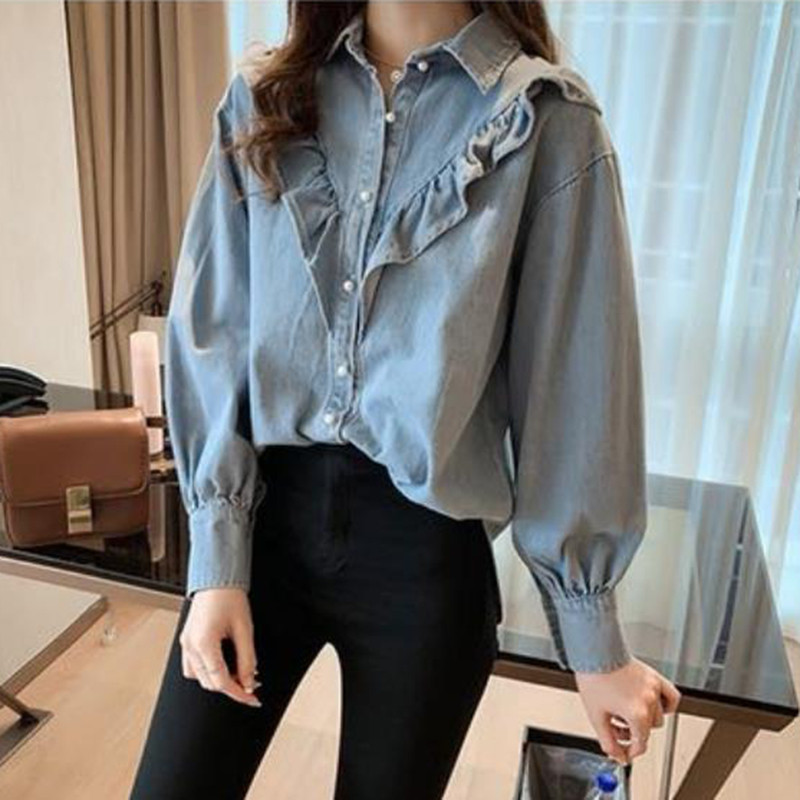 Womens Tops And   Blouses   Denim Stitching Ruffles Blue   Blouse     Shirts   Lady Long Sleeve Casual Loose Single Breasted Jeans Clothing