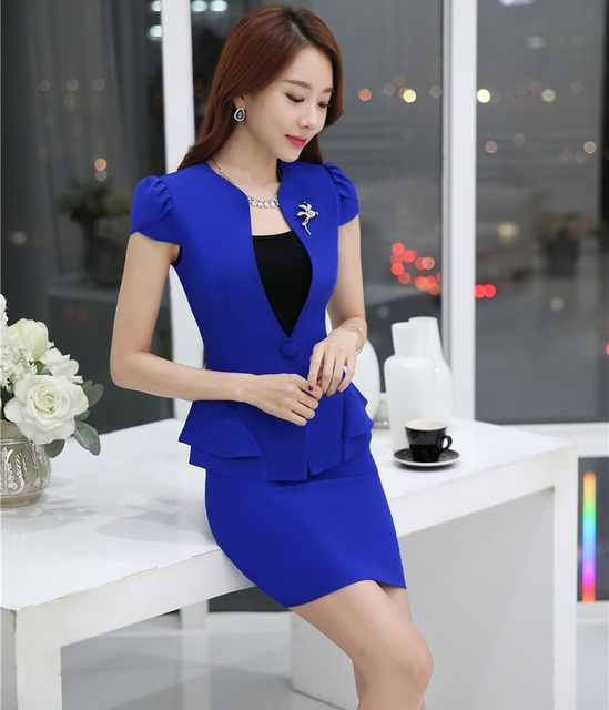 Elegant Blue Professional Business Suits Slim Fashion 2016 Summer Jackets And Skirt Ladies Outfits Blazers Sets Female Work Wear