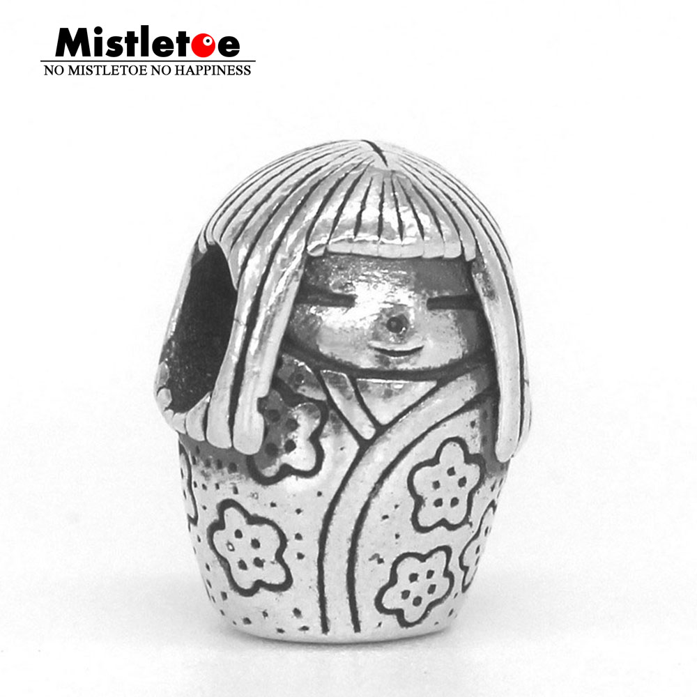 Mistletoe Genuine 925 Sterling Silver Japanese Doll Charm Bead Fit OHM Troll And Pan Bracelet Jewelry стоимость