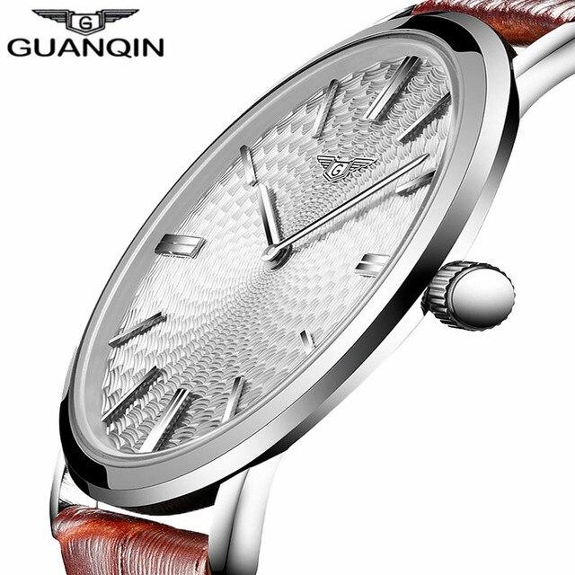 c2dcbb295 GUANQIN Relógio relogio masculino Homens De Couro Ultra Fino Relógio de  Quartzo Dos Homens Relógios Top