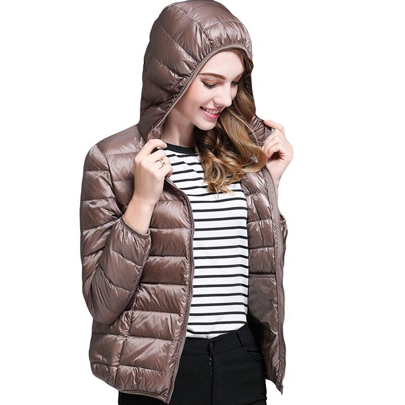 2018 Herbst Winter Mit Kapuze Leichte Daunen Jacke Ultra Licht 90% Weiße Ente Unten Frauen Mäntel Dünne Kurze Plus Größe Mantel Yp1083