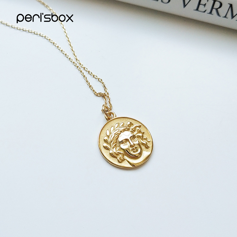 Peri'sBox 925 Sterling Sliver Portrait Coin Layered Chokers Minimalist Disc Pendant Choker Necklaces Simple Chain Necklaces
