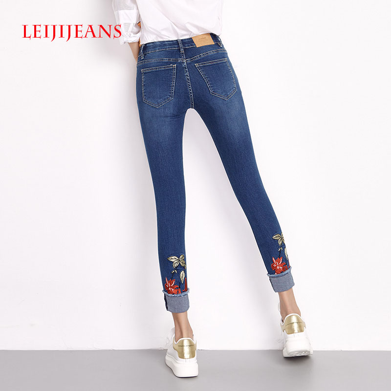 LEIJIJEANS Embroidery Jeans Women Flowers Plus Size S-6XL Mid Waist Jeans Freestyle Mid Elastic Jeans Women Casual Ankle Length 2017 leijijeans jeans women mid elastic dark blue plus size jeans with embroidery pants full length loose style straight fat mm