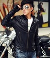 Men's British long-sleeved locomotive pu leather collar cultivate one's morality leisure leather jacket