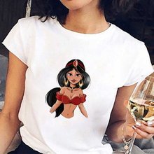 WVIOCE High Quality Fashion Princess Printed Women T-shirts Summer Short Sleeves Tops Casual Cotton Shirts White Round Neck Tees