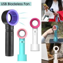 3 Speeds Level LED Indicator Mini Handheld USB Rechargeable Bladeless Fan Portable Air Cooler Device safe and practical
