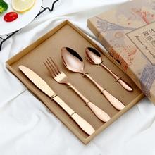 4Pcs/Set Colorful Flatware Stainless Steel Tableware Steak Knife Fork Spoon Dinner Western Food HQ Rainbow Cutlery Set