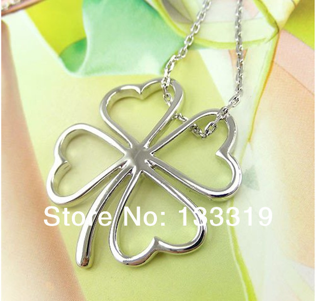 silver plated jewelry Necklace pendants Chains fashion silver plated Leaf necklace  New Fashion,free shipping