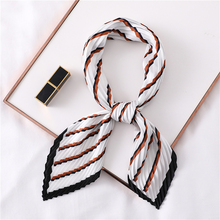 Fashion Silk Square Crinkle Scarf for Women Pleated Neck Scarves Striped Female Head Band Foulard Neckerchief
