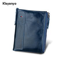 Klsyanyo Genuine Leather Man Women Wallet Purses Neutral Rfid Money Bags Wallet With Ladies Card Coin