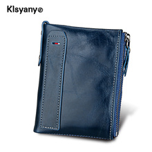 Klsyanyo Genuine Leather Man/Women Wallet Purses neutral  Rfid Money Bags Wallet With Ladies Card Coin Small Purse